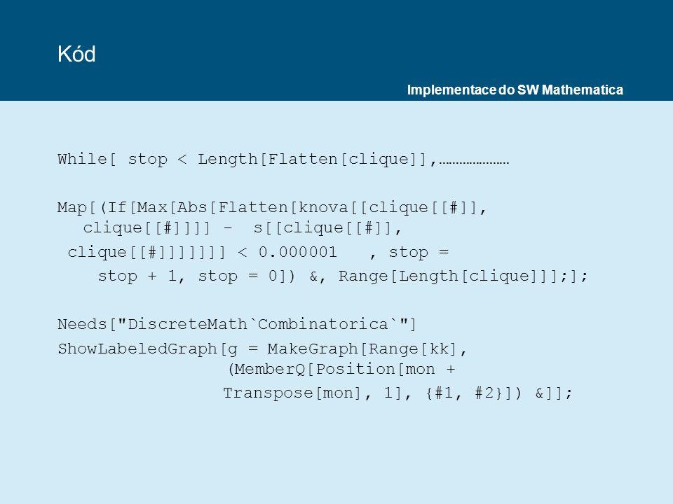 Kód While[ stop < Length[Flatten[clique]],…………………